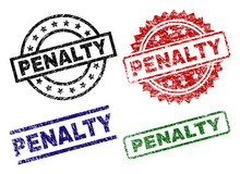 PENALTY Seal Prints With Distress Style. Black, Green,red,blue Vector Rubber Prints Of PENALTY Text With Corroded Style. Rubber Seals With Round, Rectangle, Medal Shapes.