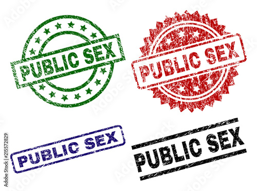 Photo  PUBLIC SEX seal prints with damaged texture