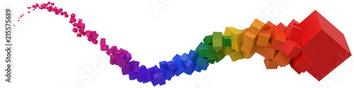 stroke of colorful cubes moving on air Canvas Print