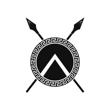 Spartan Shield And Spears. Vec...