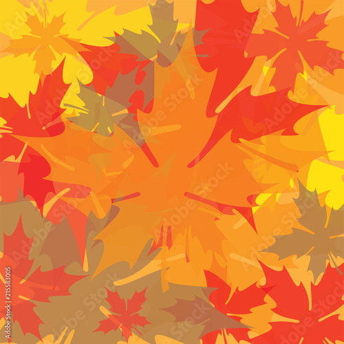 Fotografie, Obraz  Overlapping Autumn Leaves Background
