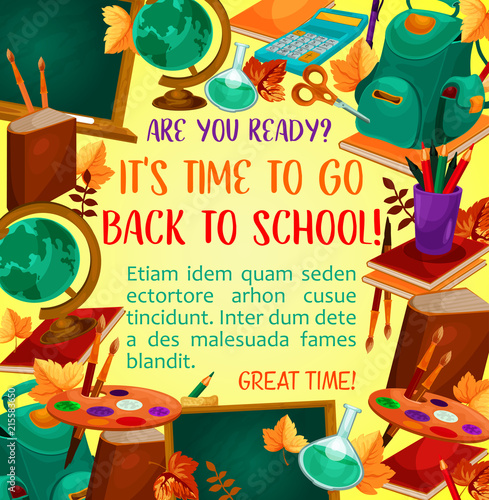 Back to school poster with study supplies frame © Vector Tradition