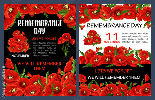 Remembrance Day poster with red poppy flower frame © Vector Tradition
