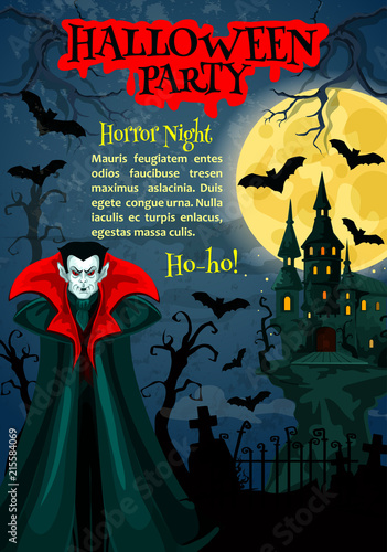 Halloween horror night party poster with vampire © Vector Tradition
