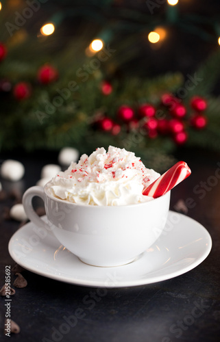 Peppermint Latte on a Table set for the Holidays