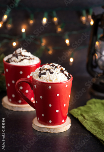Hot Chocolate with Whipped Cream in a Red Polkadot Mug