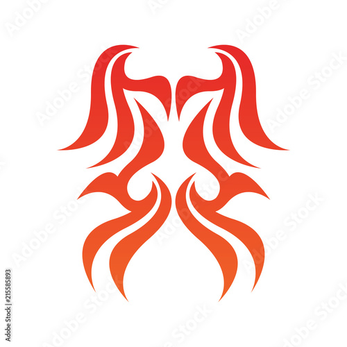 Tribal flame decoration. Simple fire tattoo. Burn decoration. Wallpaper Mural