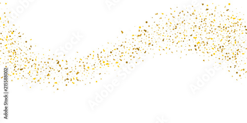 Photographie Golden glitter confetti on a white background.