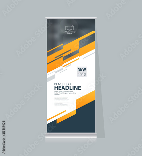 abstract roll up and banner display design template for business