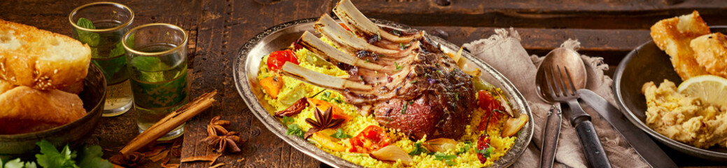 Wide panorama banner of spicy Oriental lamb