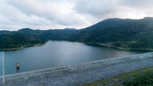 Tuinposter Luchtfoto aerial view drone shot of bangwad dam at phuket thailand.