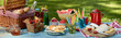 canvas print picture - Panorama banner with a healthy summer picnic