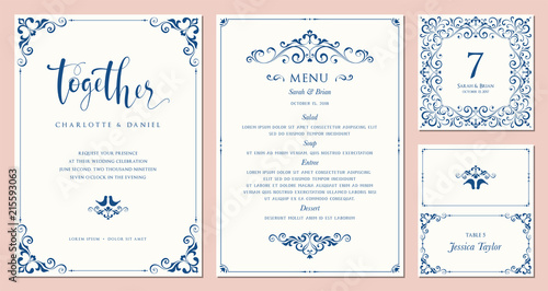 Fototapeta Ornate wedding invitation, table number, menu and place card. Swirl floral templates.  obraz