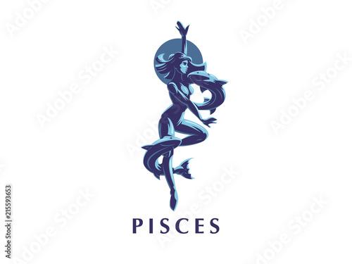 Vászonkép Sign of the Zodiac Pisces. Vector illustration.