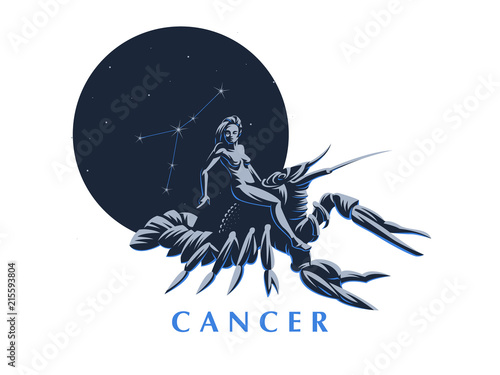 Canvas Print Sign of the zodiac Cancer. A woman riding a crawfish.