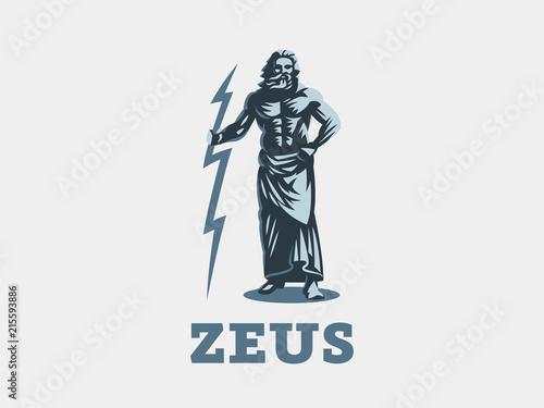 Photo  The Greek god Zeus. Zeus stands with lightning in his hands.