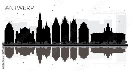 Spoed Foto op Canvas Antwerpen Antwerp Belgium City skyline black and white silhouette with Reflections.