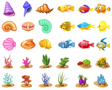 Cartoon Vector Game Icons With Seashell, Colorful Coral Reef Tropical Fish, Pearl, Colorful Corals And Algae, White Background, For Match Three Game, Apps On White Background. Isolated Elements.