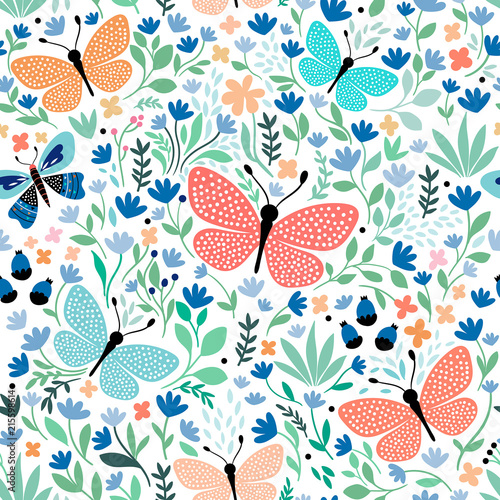 Obraz na plátně Hand drawn seamless pattern with butterflies and plants