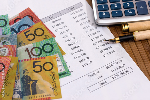 Australian Dollars With Purchase Order And Calculator