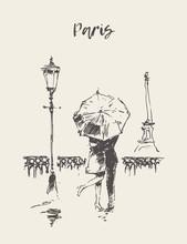 Loving Couple Under Umbrella Rain Paris Vector