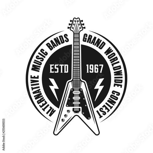 Tuinposter Art Studio Rock music vector emblem with electric guitar