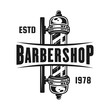 Barbershop pole vector emblem isolated on white