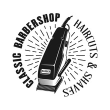 Barbershop Emblem With Electrical Hair Clipper