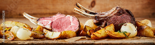 Panorama banner of grilled lamb chops Canvas Print