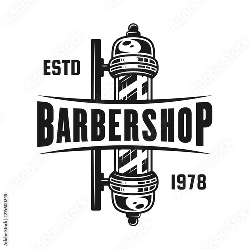 Fototapeta Barbershop pole vector emblem isolated on white obraz