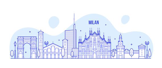 Milan skyline Italy city buildings vector