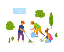 Young People Volunteers Cleani...