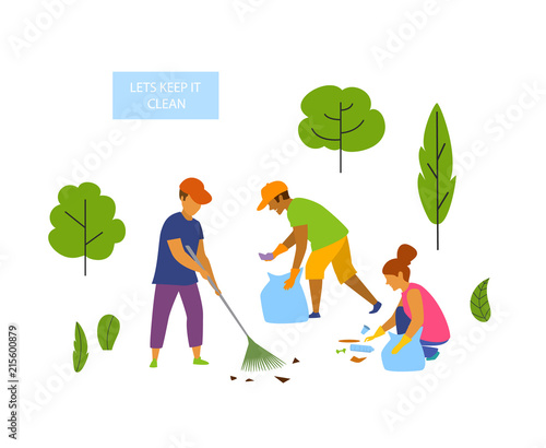 Cuadros en Lienzo young people volunteers cleaning up the park isolated vector graphic scene