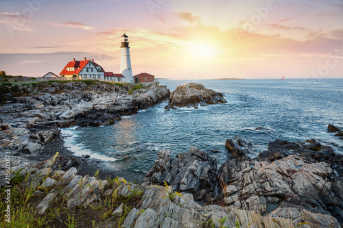 Foto auf AluDibond Lateinamerikanisches Land Portland Head Light at dusk