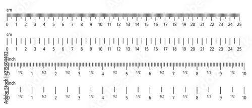 Obraz na plátne Inch and metric rulers