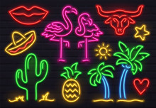 Retro Fashion Neon Sign. Glowi...