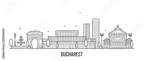 Bucharest skyline Romania city buildings vector