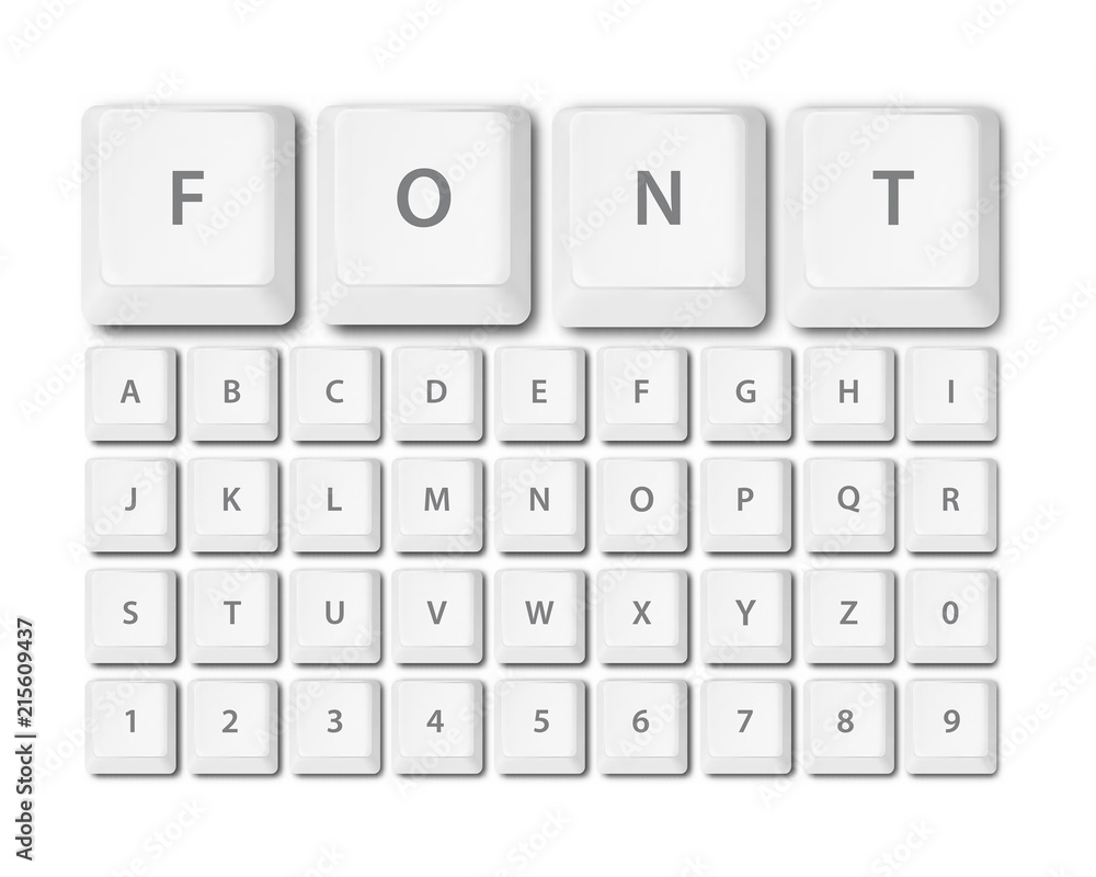 Fototapeta keyboard buttons font alphabet vector