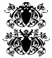 heraldic emblems with shield, wolf heads and rose flowers - black and white vector design