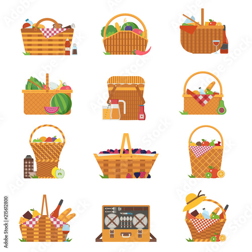 Wicker and willow picnic baskets isolated on white Slika na platnu