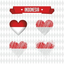Indonesia. Collection Of Four Vector Hearts With Flag. Heart Silhouette