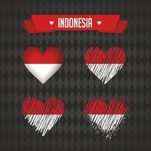 Indonesia With Love. Design Vector Broken Heart With Flag Inside.