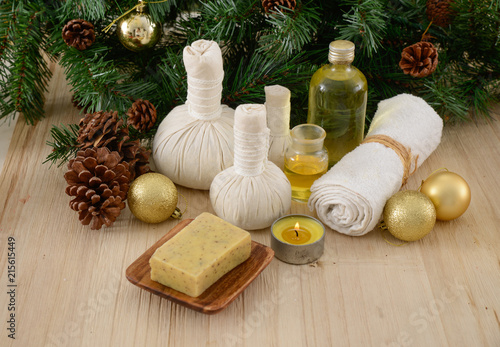 Spoed Foto op Canvas Spa Spa treatment with Christmas decorations-mat and wooden background