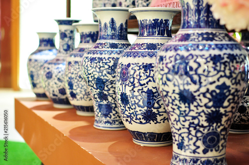 Stampa su Tela a group of Chinese oriental art vase, ancient decorative pottery