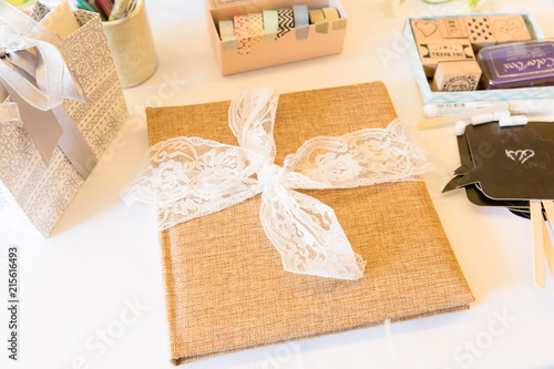 Burlap Wedding Guest Book and Photo Booth Accessories - Buy this