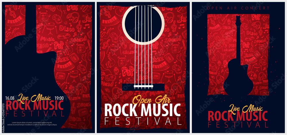 Festiwal muzyki rockowej. Na wolnym powietrzu. Zestaw szablonów Flyers z ręcznie rysować doodle na tle.