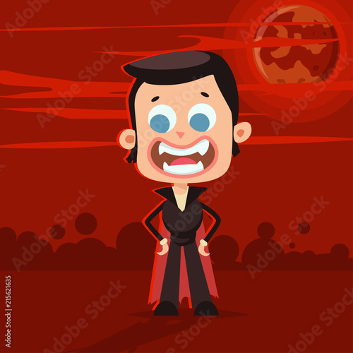 Halloween Kids Costume Of Happy Dracula On A Red Abstract Background Vector Cute Cartoon Flat Children Character For Holiday And Partying Template Design For The Poster Buy This Stock Vector And