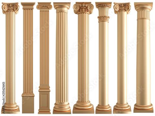 Fotografie, Obraz  Golden columns on a white background. Isolated