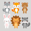 Vector set with cute animals in cartoon style. Illustration in a children's style.