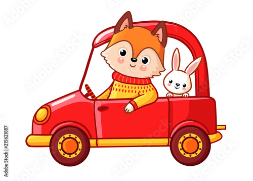 Staande foto Cartoon cars Fox with a hare ride on a red car. Vector illustration with cute animals on a white background.